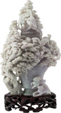 Asian, Chinese Lavender Jadeite Carved Covered Vessel on Hardwood Base. 9inches high (22.9 cm). ... (Total: 3 Items)