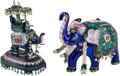Asian:Chinese, Two Mughal-Style Enameled Elephant Figures, 20th century. 7 incheshigh (17.8 cm) ... (Total: 2 Items)