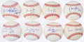 Autographs:Baseballs, Hall of Fame Inscribed Single Signed Baseball Lot of 8.. ...