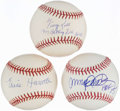 Autographs:Baseballs, Hall of Fame Inscribed Single Signed Baseball Lot of 3.. ...