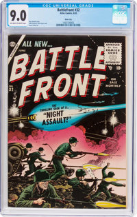 Battlefront #32 River City Pedigree (Atlas, 1955) CGC VF/NM 9.0 Off-white to white pages