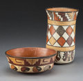 Ceramics & Porcelain:Pre-Columbian, Two Nazca Polychrome Vessels . c. 400 - 600 AD... (Total: 2 Items)