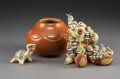 American Indian Art:Pottery, Three Santa Clara Pottery ItemsRose Gonzale...
