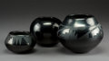 American Indian Art:Pottery, Three San Ildefonso Blackware Jars. Blue Corn (Crucita Calabaza),Maria Poveka, and Santana /Adam Martinez. c. 1968 - 19... (Total: 3Items)