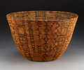 American Indian Art:Baskets, An Apache Polychrome Coiled Bowl. c. 1890...