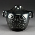 American Indian Art:Pottery, A Santa Clara Carved Blackware CanteenMaria...