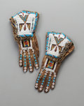 American Indian Art:Beadwork and Quillwork, A Pair of Plains or Plateau Beaded Leather Gauntlets... (Total: 2Items)