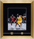 Basketball Collectibles:Others, Michael Jordan & Kobe Bryant Framed Photograph with ReplicaRings.. ...