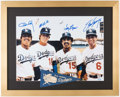 Autographs:Photos, Los Angeles Dodgers Multi-Signed Oversized Photograph with Cey,Garvey, Lopes, & Russell.. ...