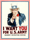 "Movie Posters:War, World War I Propaganda by James Montgomery Flagg (Leslie-Judge Co.,1917). Recruitment Poster (30"" X 40.5""), ""I Want You for..."