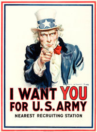 "World War I Propaganda by James Montgomery Flagg (Leslie-Judge Co., 1917). Recruitment Poster (30"" X 40.5""), &..."