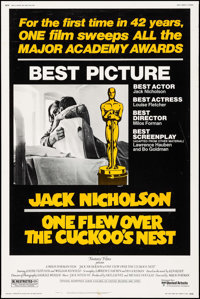 """One Flew Over the Cuckoo's Nest (United Artists, 1975). Poster (40"""" X 60""""). Academy Award Winners"""