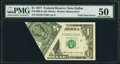 Error Notes:Foldovers, Foldover Error Fr. 1909-K $1 1977 Federal Reserve Note. PMG AboutUncirculated 50.. ...