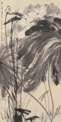 Asian:Chinese, A Chinese Ink and Watercolor Scroll Depicting Lotus BlossomsAttributed to Zhang Daqian (1899-1983). Marks: Two red artist's...