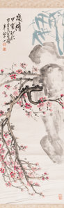Asian:Chinese, After Wu Changshuo (1844-1927), Chinese Watercolor PaintingDepicting a Blossoming Prunus. Marks: Red artist's seals. 50-1/4...