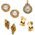 Estate Jewelry:Lots, Diamond, Mabe Pearl, Ruby, Gold Jewelry. ... (Total: 4 Items)