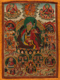 Asian:Other, A Tibetan Thangka, 19th century. 23-1/2 inches high x 16-3/4 incheswide (59.7 x 42.5 cm) (work). 42-1/2 inches high x 29-1/...