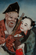 Asian, A Chinese Reverse Painting on Glass. 28 inches wide (71.1 cm). ...