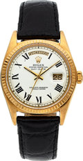 Timepieces:Wristwatch, Rolex Ref. 1803 Gold Oyster Perpetual Day-Date, Buckley Dial, circa 1977. ...