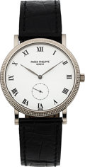 Timepieces:Wristwatch, Patek Philippe Ref. 3919G White Gold Calatrava Wristwatch. ...