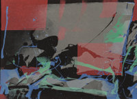 Syd Solomon (1917-2004) Untitled, n.d. Lithograph in colors on black wove paper 21-7/8 x 30 inche