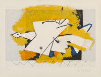 After Georges Braque L'Oiseau jaune, 1959 Lithograph in colors on BFK Rives paper 15-7/8 x 22-1/