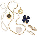 Estate Jewelry:Lots, Cultured Pearl, Sodalite, Shell, Ancient Coin, Gold Jewelry. ... (Total: 8 Items)
