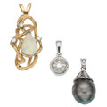 Estate Jewelry:Pendants and Lockets, Diamond, Opal, Black South Sea Cultured Pearl, Gold Pendants. ...(Total: 3 Items)