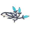 Estate Jewelry:Brooches - Pins, Sapphire, Turquoise, White Gold Brooch. ...