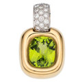 Estate Jewelry:Pendants and Lockets, Peridot, Diamond, Gold Enhancer. ...