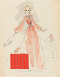 """Movie/TV Memorabilia:Costumes, An Eva Gabor Collection of Costume Design Sketches Likely from """"Green Acres.""""..."""