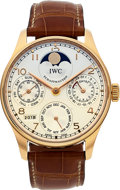 Timepieces:Wristwatch, IWC Very Fine 18k Rose Gold Portuguese Perpetual Calendar With Moon Phase Ref. IW502306. ...