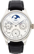 Timepieces:Wristwatch, IWC Very Fine Platinum Limited Edition Portuguese AutomaticPerpetual Calendar With Moon Phases, No. 117/250. ...