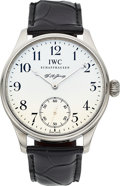 Timepieces:Wristwatch, IWC Very Fine Limited Edition Platinum F.A. Jones Portuguese. ...