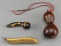 Asian:Japanese, Three Japanese Gourd and Bean-Form Tablewares, Meiji Period. 5-1/8inches long (13 cm) (longest, bean). ... (Total: 3 Items)