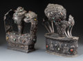 Asian:Other, Two Large Tibetan Silver, Coral, and Turquoise Incense Ves...