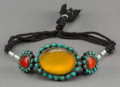 Asian:Other, A Mughal Silver, Turquoise, and Agate Armband with EngravedCalligraphy. 3-1/8 inches wide (7.9 cm) (three mounts, excluding...