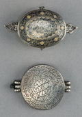 Asian:Other, An Indo-Persian Silver and Niello Koran Box and Silver Talisman, 19th Century. 2-3/4 inches wide (7.0 cm) (larger, box). ... (Total: 2 Items)