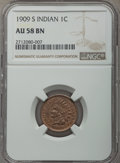 Indian Cents, 1909-S 1C AU58 NGC. NGC Census: (103/291). PCGS Population: (167/284). CDN: $800 Whsle. Bid for problem-free NGC/PCGS AU58....
