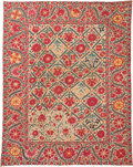Textiles, An Uzbek Kermina or Samarkand Suzani Textile, early 19th century. 86 inches long x 66 inches wide (218.4 x 167.6 cm). ...
