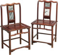 Asian:Chinese, A Pair of Chinese Carved Hardwood and Marble Inset Hall Chairs. 37h x 19-5/8 w x 16 d inches (94.0 x 49.8 x 40.6 cm). ... (Total: 2Items)