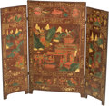 Asian:Chinese, A Chinese Polychromed Wood Trifold Screen, Qing Dynasty, late 19thcentury. 33-1/2 inches high x 40 inches wide (85.1 x 101....