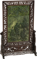 Asian:Chinese, A Large Chinese Carved Spinach Jade Table Screen, 20th Century.36-3/4 h x 22-1/2 w x 10-3/4 d inches (93.3 x 57.2 x 27.3 cm...(Total: 2 Items)