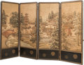 Asian:Japanese, A Japanese Four Panel Embroidered Silk Room Screen, Meiji Period,circa 1868-1912. 67 inches high x 103 inches wide (170.2 x...
