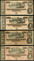 Confederate Notes, T68 $10 1864 Four Examples.. ... (Total: 4 notes)