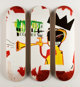 After Jean-Michel Basquiat X The Skateroom Trumpet, triptych (Open Edition), 2016 Screenprints in colors on skate deck...