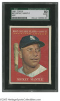 Baseball Cards:Singles (1960-1969), 1961 Topps Mickey Mantle #475 SGC EX/NM 80. Nice example of thisimportant card....