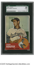 Baseball Cards:Singles (1960-1969), 1963 Topps Sandy Koufax #210 SGC EX/NM 80. Nice example of thisimportant card....