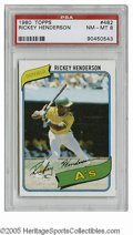 Baseball Cards:Singles (1970-Now), 1980 Topps Rickey Henderson #482 PSA NM-MT 8. High-grade example ofthis important card....