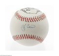 Autographs:Baseballs, Yogi Berra Single Signed Baseball with Gallo Art. Perfect blue inksweet spot signature is joined by artwork from noted spo...